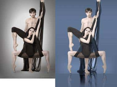 Image with mirror effect for ballet poster(befor and after)