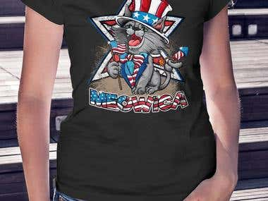 CAT AMERICAN INDEPENDENCE PARTY TSHIRT
