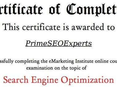 Certificate of Search Engine Optimization