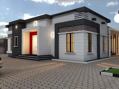 Simple rendering on bungalow design