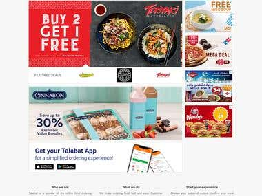 Food Ordering website for Dubai based Company