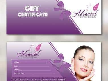 Advanced Health and Beauty Gift Certificate Entry #1