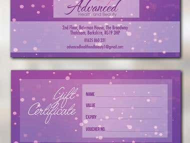 Advanced Health and Beauty Gift Certificate Entry #2