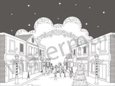 Black and white illustrations design ..