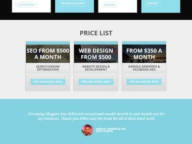 Marketing agency website in WordPress