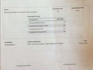 Certificado CAPLE Português (C1)