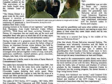 Article for national cadet magazine