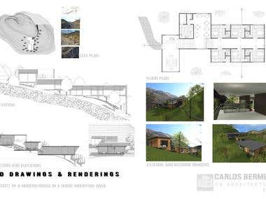Project of a modern house in a rural mountain area.