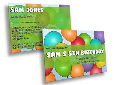 Balloon Themed Birthday Invitation Design