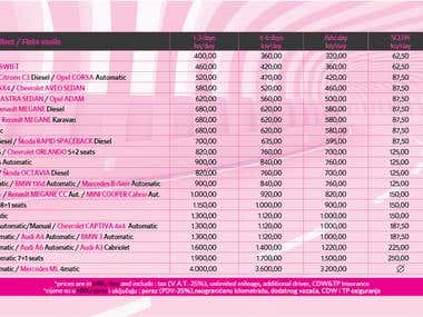 double sided flyer with price list