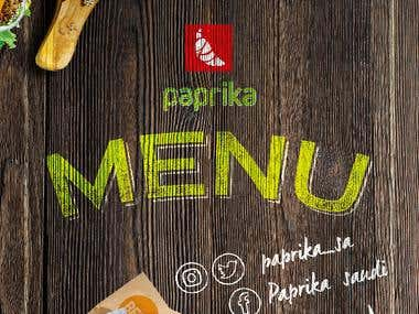 Menu design and layout for Paprika Restaurant