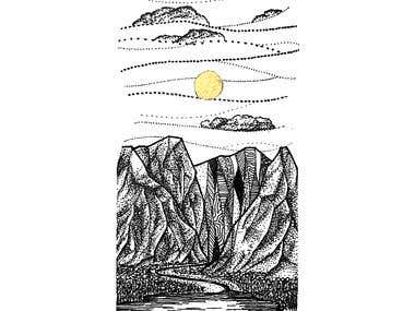 Ink Drawing of Mountains