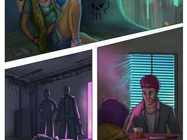 Cyber punk Sci fi comic book