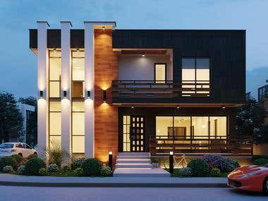 Realistic exterior rendering of a modern house