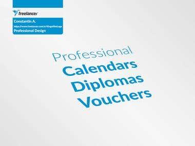 Calendars, Diplomas, Vouchers
