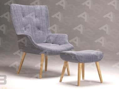 EJERSLEV Armchair with pouf - 3D Model & Render by AYB.