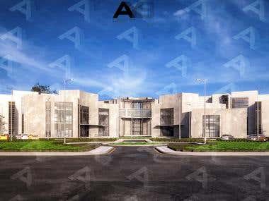 University Exterior 3D Visualization.