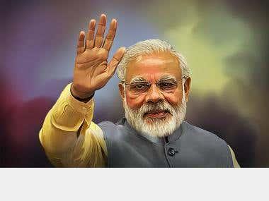 DIGITAL PAINTING of Narendra Modi ( Indian Prime Minister )