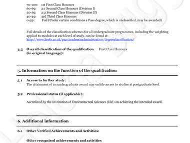 First Class Honours Degree