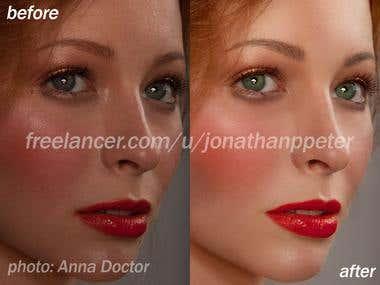 High-end portrait retouching