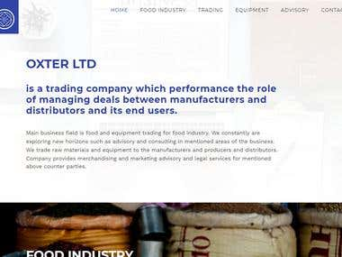 Oxter website for food company