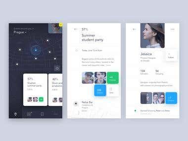 Design for mobile app( company Real-Pixels).