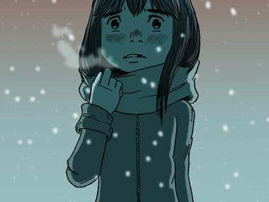 Girl in the Snow Illustration