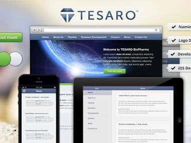 TESARO: Tesaro Biopharma Naming, Identity, Web, Mobile, Resp