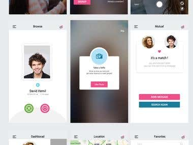 UI design for an online Mobile Dating App