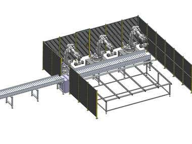 Steel profile Unloading and Loading robotic station