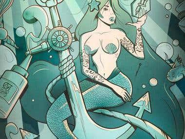 High Tide Tattoo - Vector Illustration
