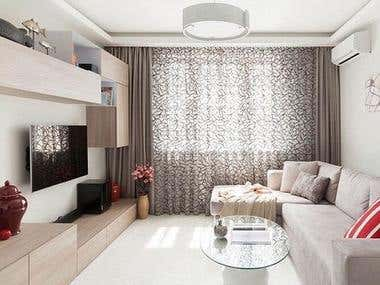 Design and Rendering of Living Room and Bedroom
