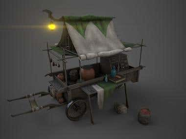 Tradewagon. Lowpoly game-ready model