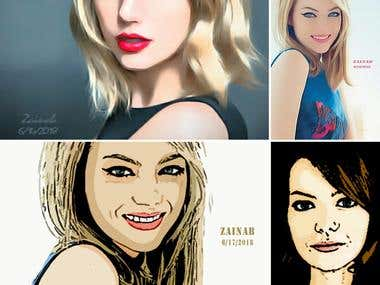 Vector Cartoon, Vector Painting, and Digital Painting
