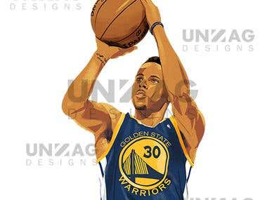 Watercolour Painting Stephen Curry