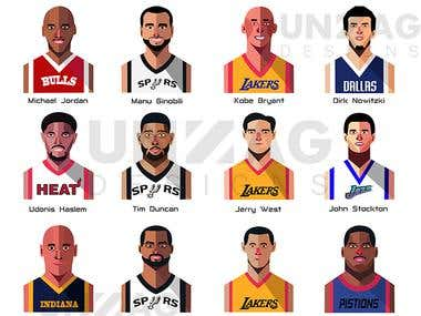 Vector set for Basket ball players.