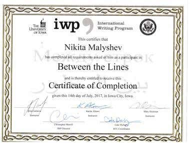 """The certificate of writing program """"Between the lines"""" USA"""