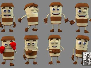 Coffee cup character design