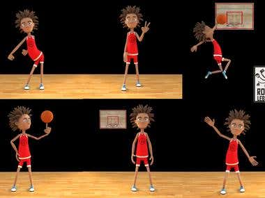 Cartoon basketball player.
