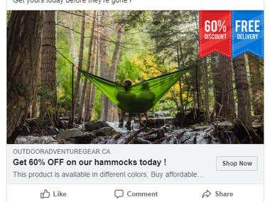 Facebook ads for outdooradventuregear.ca