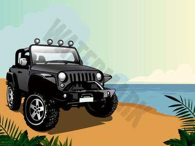 Jeep and Dogs Illustration