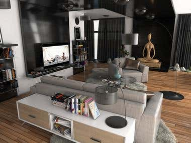 Modern living room photorealistic render