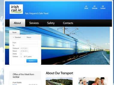 Irish Rail Website Mockup