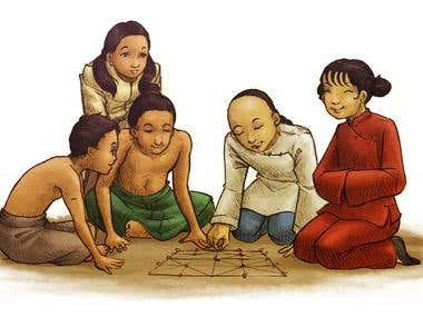 traditional playing kids