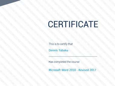 Microsoft Word 2010 - Revised 2017 CERTIFICATE