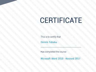 Microsoft Word 2010 - Revised 2017 CERTIFICATE