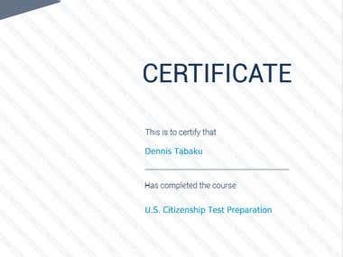 U.S Citizenship Test Preparation CERTIFICATE