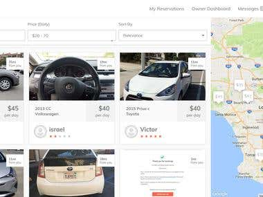 Ridesharing Website for car hire