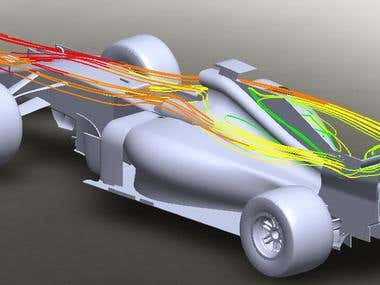 flow analysis of F1 car in SolidWorks