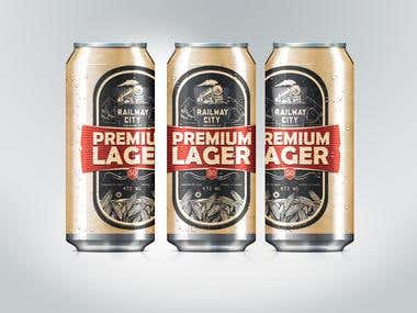 Premium Lager Beer Label Design